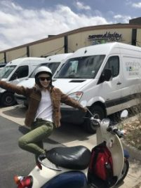 Allison rides her scooter to work everyday, so Earth Week was easy for her.