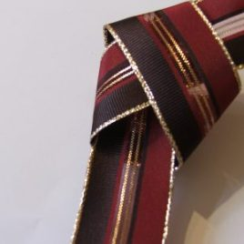 Burgundy/Red & Gold Wired Ribbon