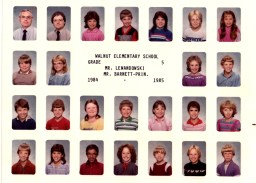 5th grade! Kristi is in the second row, left side. I'm bottom row, third from left with the poodle hairdo.