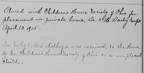 A ledger entry for Katherine Leist from the Pickaway County (Ohio) Register of Admittance and Indenture.