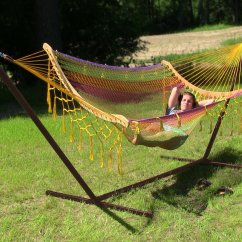 Outdoor Swing Chair Bunnings Parsons Cover Pattern Hammocks Oztrail Double Hammock With Frame