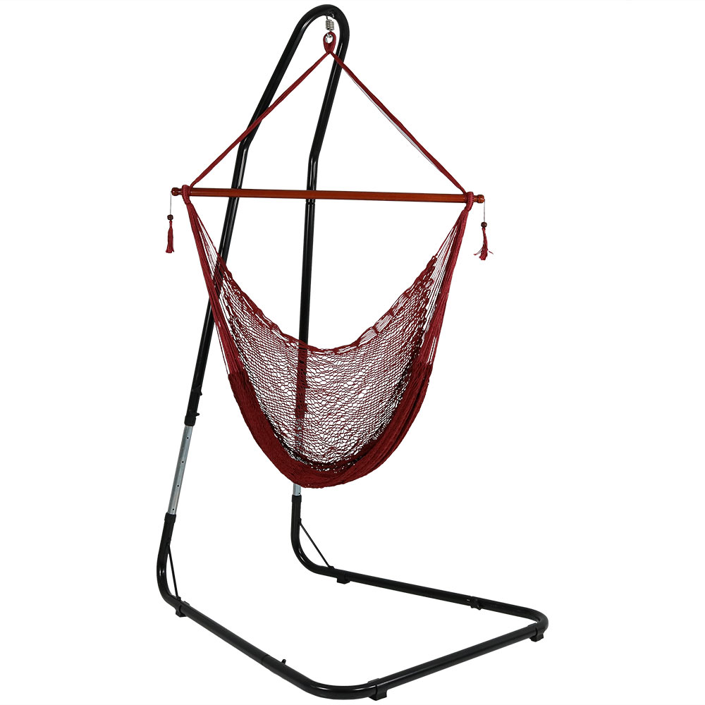 hammock chair stand adjustable swivel camp sunnydaze cabo extra large hanging rope features