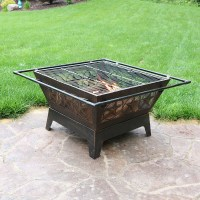 Northern Galaxy Square Fire Pit 32in Wood Burning Outdoor