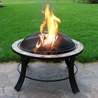 Sunnydaze 30 Inch Natural Slate Fire Pit Table with Spark ...
