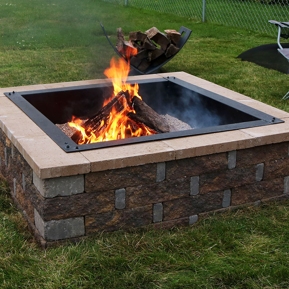 Sunnydaze Square Heavy Duty Fire Pit Rim DIY InGround