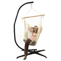 Hammock Chair C Stand Pull Out Chairs Sunnydaze Cotton Rope W Spreader Bar And