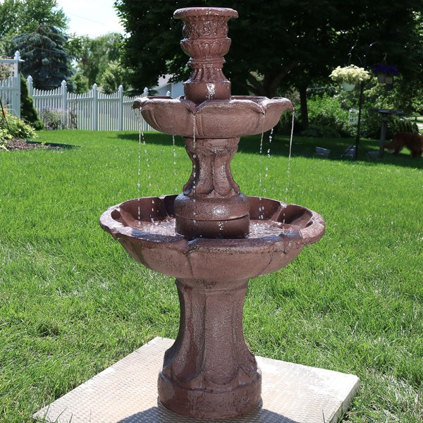Sunnydaze Goblet 3 Tier Garden Outdoor Water Fountain 37
