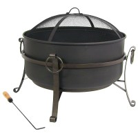 Steel Cauldron Fire Pit, Durable, Woodburning, Patio/Deck