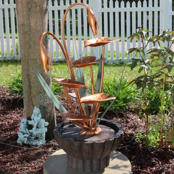Sunnydaze Copper Flower Petals With Five Tier Leaves