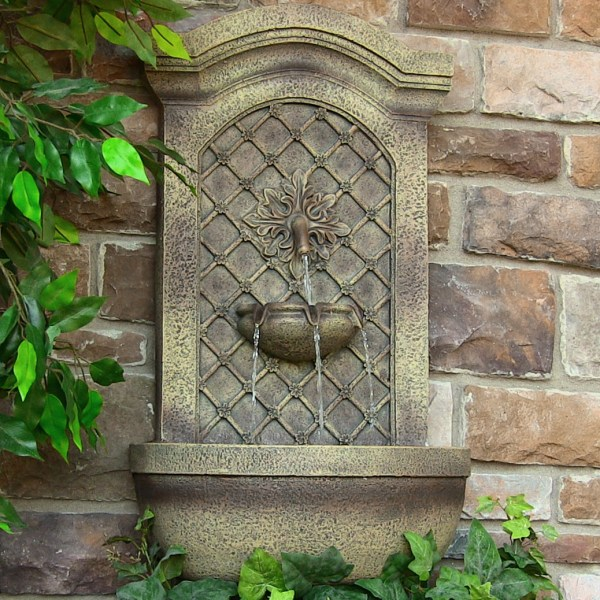Sunnydaze Rosette Solar Wall Fountain Outdoor Decor