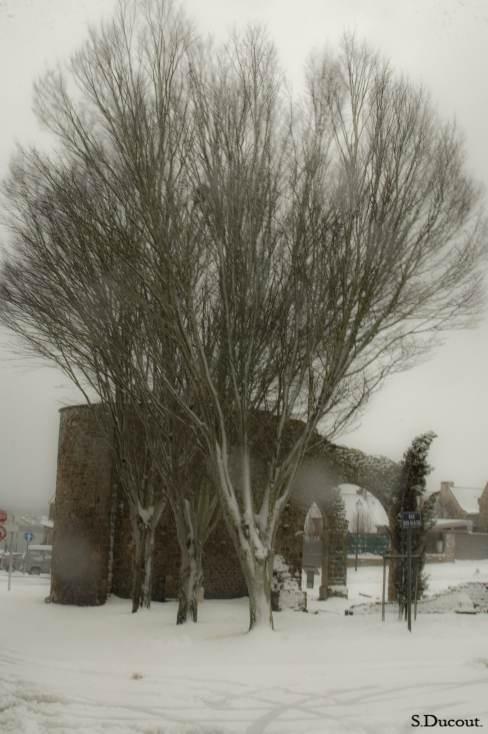 La cité d'Aleth, sous la neige - Serge Ducout - Photographie