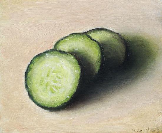 Schilderij Komkommer, olieverf op doek, paneel, 12 x 15 cm, Serge de Vries