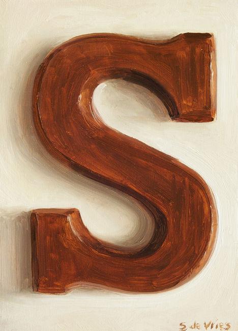 Schilderij Chocoladeletter, olieverf op paneel, 18 x 13 cm, Serge de Vries