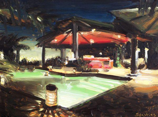 Schilderij zwembad, olieverf op paneel, 18 x 24 cm, Serge de Vries