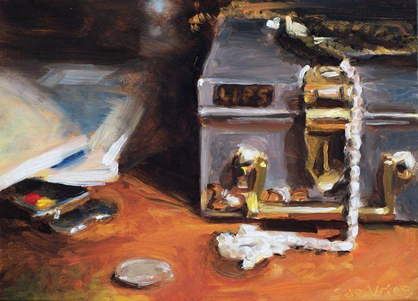 Schilderij Kluislade, olieverf op paneel, 15 x 20 cm, Serge de Vries
