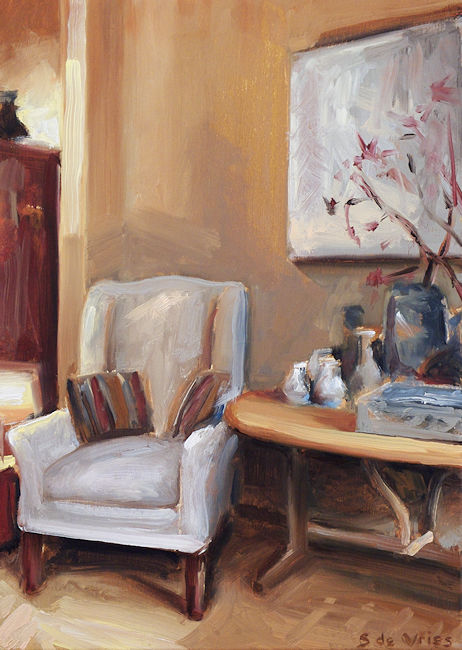Schilderij Zithoek, olieverf op paneel, 20 x 15 cm, Serge de Vries