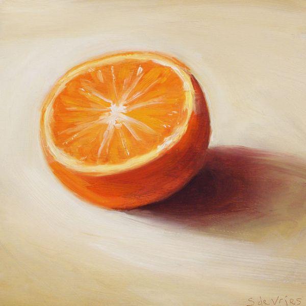 Sinaasappel nr2, olieverf op paneel, 14 x 14 cm, Serge de Vries