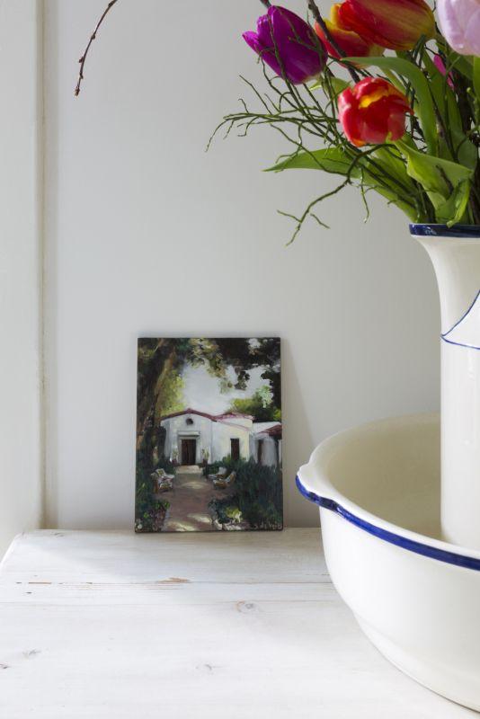 interieur schilderij mediterraans huis olieverf op paneel 18 x 14 cm serge de vries
