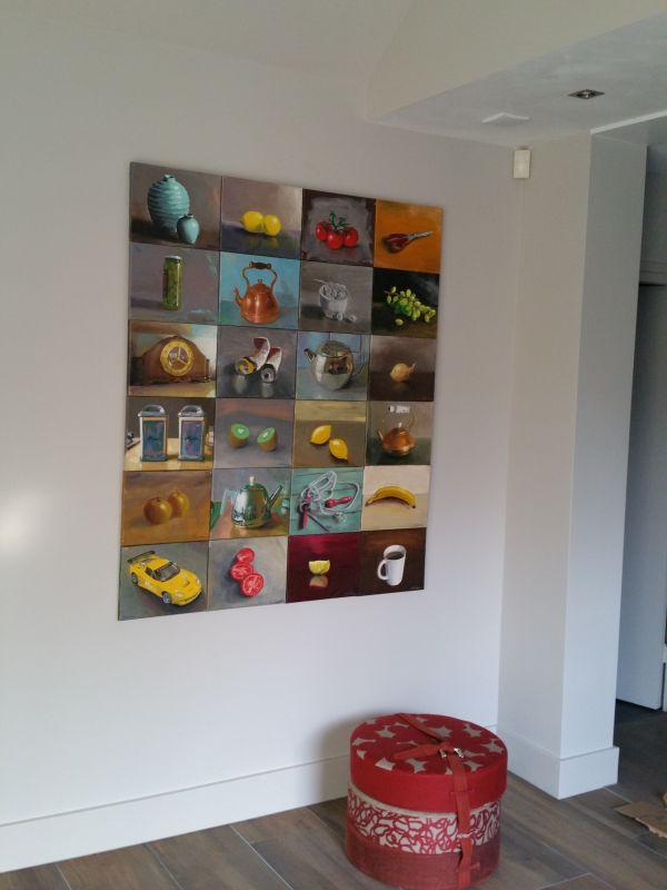 Interieur schilderijen collage in entreehal, Serge de Vries