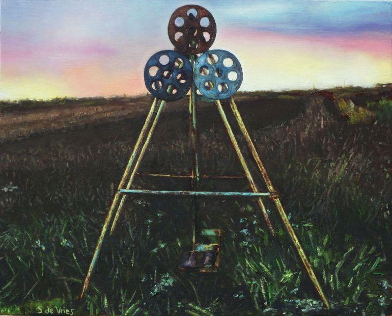 Blog schilderij van roestige Schommel, olieverf op paneel, 14 x 18 cm, Serge de Vries