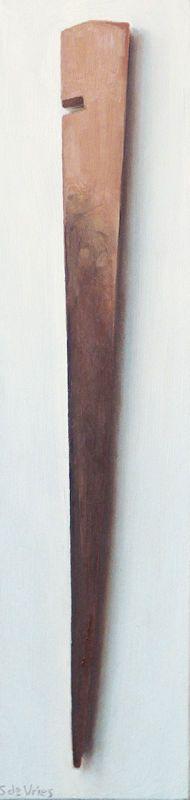 Houten tentharing, olieverf op paneel, 30 x 7 cm, Serge de Vries