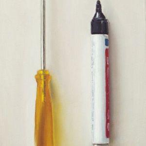 Schilderij schroevendraaier en marker, olieverf op paneel, 13 x 18 cm, Serge de Vries