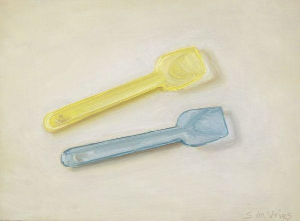 Schilderij ijslepels, olieverf op paneel, 13 x 18 cm, Serge de Vries
