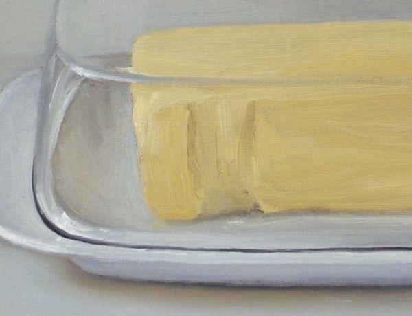 Detail schilderij Botervloot, olieverf op paneel, 13 x 18 cm, Serge de Vries