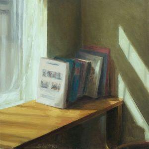 Boeken en zonlicht, olieverf op paneel, 17 x 17 cm, Serge de Vries