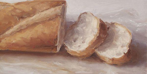 Detail schilderij Stokbrood, olieverf op paneel, 12 x 23 cm, Serge de Vries