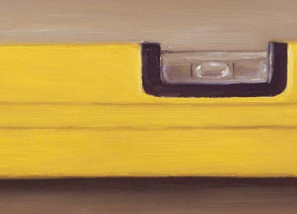 Detail schilderij Waterpas, olieverf op paneel, 13 x 18 cm, Serge de Vries