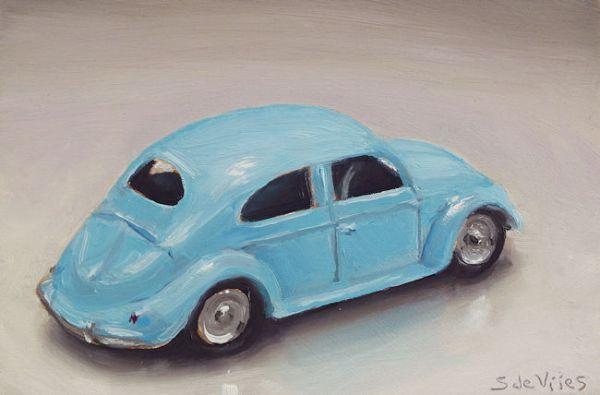 Dinky toy nr10, volkswagen, olieverf op paneel, 9 x 13 cm, Serge de Vries