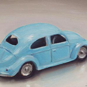 Schilderij Dinky toy nr10, volkswagen, olieverf op paneel, 9 x 13 cm, Serge de Vries