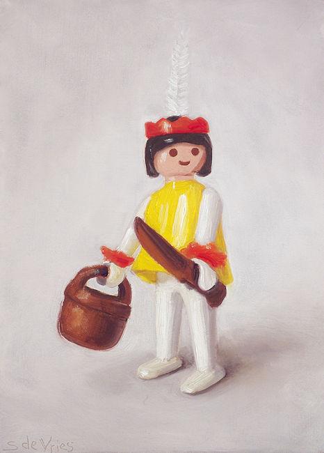 Playmobil nr6, indiaan, olieverf op paneel, 18 x 13 cm, Serge de Vries