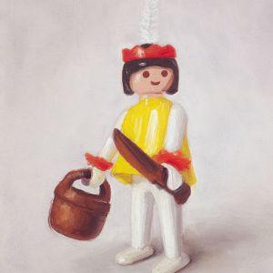 Schilderij Playmobil nr6, indiaan, olieverf op paneel, 18 x 13 cm, Serge de Vries