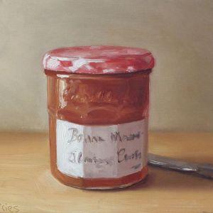 Abrikozen confiture, olieverf op paneel, 14 x 18 cm, Serge de Vries