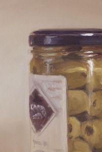 Detail schilderij Olijven in pot, olieverf op paneel, 18 x 13 cm, Serge de Vries