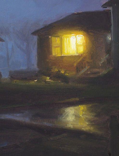 Detail schilderij Oprit in de nacht, olieverf op paneel, 19 x 15 cm, Serge de Vries