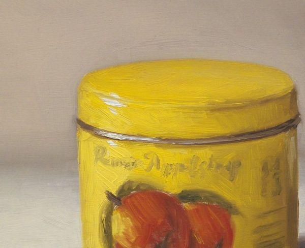 Detail schilderij Rinse appelstroop, olieverf op paneel, 14 x 18 cm, Serge de Vries