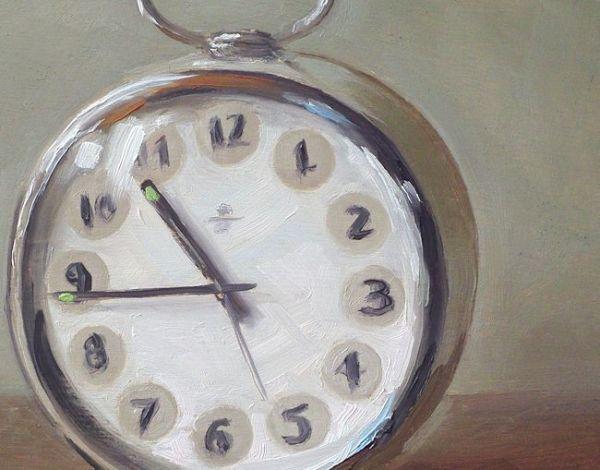 Detail schilderij Wekker, olieverf op paneel, 13 x 16 cm, Serge de Vries