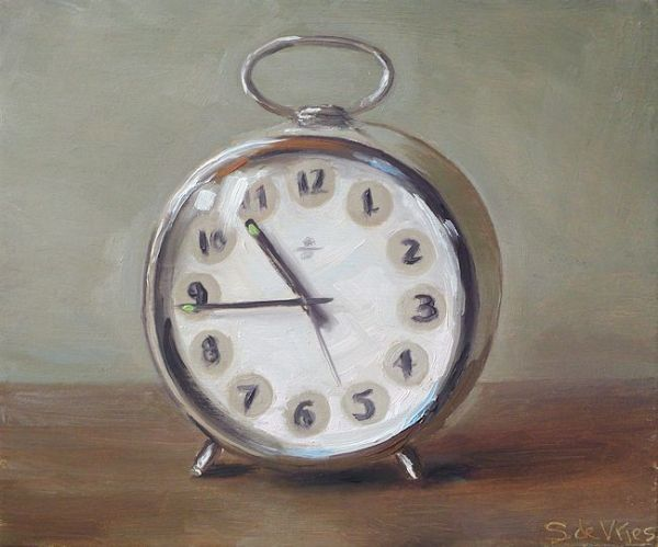 Wekker, olieverf op paneel, 13 x 16 cm, Serge de Vries