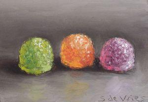 Schilderij Tumtummetjes, olieverf op paneel, 5 x 7 cm, Serge de Vries