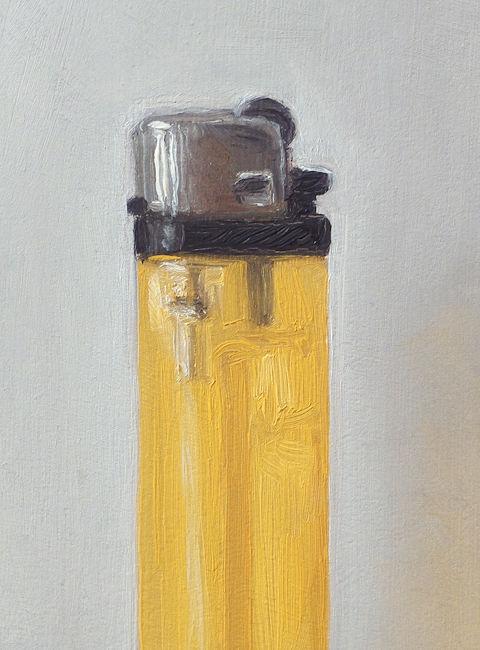 Detail Aansteker nr5, olieverf op paneel, 13 x 9 cm, Serge de Vries
