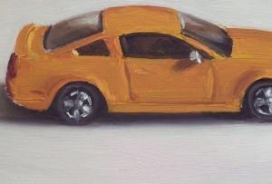 Detail schilderij Dinky toy nr11 ford mustang gt, olieverf op paneel, 11 x 17 cm, Serge de Vries