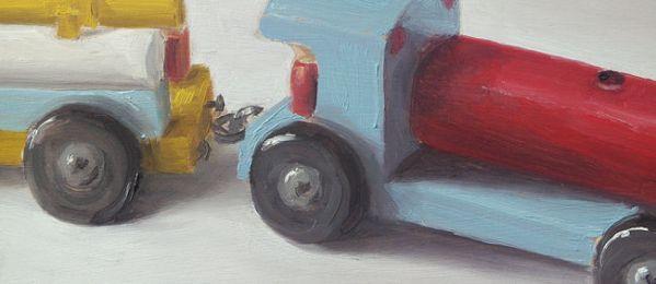 Detail Houten trein, olieverf op paneel, 12 x 28 cm, Serge de Vries