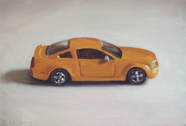 Dinky toy nr11 ford mustang gt, olieverf op paneel, 11 x 17 cm, Serge de Vries