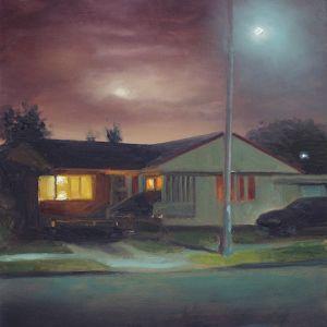 Schilderij Huis in de nacht nr2, olieverf op paneel, 19 x 16 cm, Serge de Vries