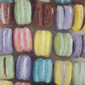 Macarons, olieverf op paneel, 12,5 x 12.5 cm, Serge de Vries