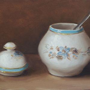 Porseleinen suikerpot, olieverf op paneel, 13 x 18 cm, Serge de Vries