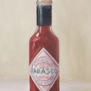 Schilderij Tabasco, olieverf op paneel, 18 x 12 cm, Serge de vries